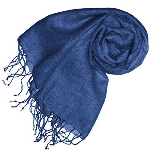 Lorenzo Cana - Luxus Damen Schal Leinenschal 100% Leinen 70 cm x 180 cm Tuch Naturfaser Modefarbe Riverside Mittelblau 93262