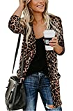 Long Cardigan Shirts for Women Leopard Top Open Front Cardigan Casual Print Outwear Cardigan Brown L