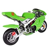 Hergoto Kids Gasoline-Powered Pocket Bikes, Mini Children's and Youth Motorcycles, 49cc 4-Stroke Engine, Maximum Load Capacity of 220 Pounds, EPA Approved (US Inventory) (Green)