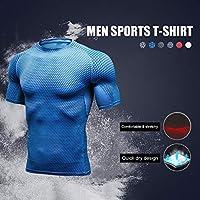 Benkeg メンズスポーツTシャツ,男性スポーツTシャツOネック半袖速乾トレーニングトレーニングスポーツウェア