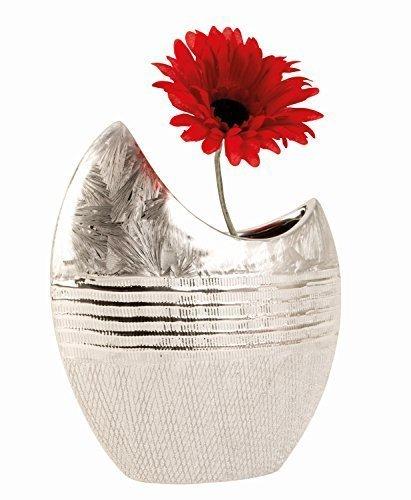Unbekannt Moderne Deko Vase Blumenvase aus Keramik Silber Höhe 23 cm