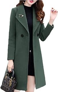 Women's Long Woolen Coat Double Breasted Lapel Overcoat Parka Jacket Warm Cardigans