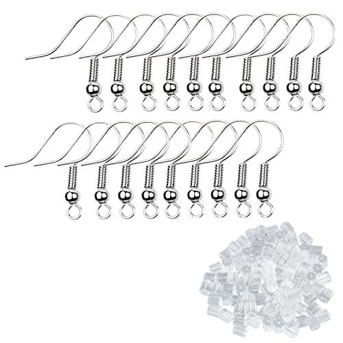 Eco-Fused 200 pcs Silver Earring Hooks and 500 pcs Transparent Earring Backs - Nickel-Free Ear Wires (18mm) - Plastic Stopper Replacement Safety Back (2.5mm x 3mm) -for Jewelry Making, DIY Earrings
