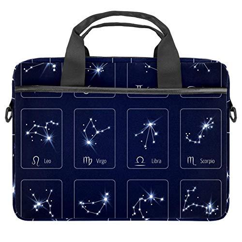 LORVIES Zodiac Sign Constellation Stars Maagd Leo en Weegschaal Laptop Bag Schouder Messenger Bag Zakelijke Mouw Draaghandvat Bag voor 14 naar 15.4 inch Laptop Notebook