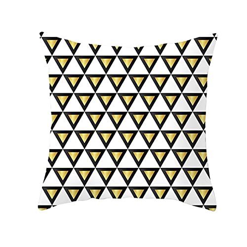 Agoble Objetos Decoracion Modernos, Adornos para Salon Modernos Poliéster 1 45X45cm Funda Cojin Blanco Negro Triángulo