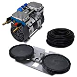 """HALF OFF PONDS Pro Deep Water Subsurface Air & Aeration System for Ponds with (1) 6.7 CFM Air Compressor, 100 ' of 3/8"""" Weighted Tubing and Double-10 EPDM Rubber Diffuser Disc Assembly"""