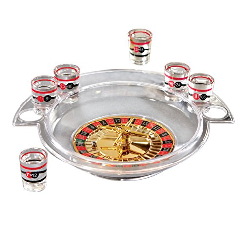 Fifth Avenue Crystal Shot Glass Roulette Bar Game Set
