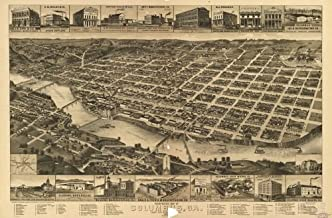 Map of Perspective of Columbus, Ga, County seat of Muscogee County, 1886. Columbus|Georgia|Columbus|Georgia|Aerial Views|Columbus|Columbus (Ga.)|Georgia