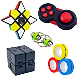 Fidget Toy Set Includes Infinity Cube, Magnetic Fidget Rings, Fidget Pad Cube, Flippy Chain, Spinner Cube, Handheld Fidget Toys for Adults Kids ADHD ADD Anxiety Autism, Stress and Anxiety Relief