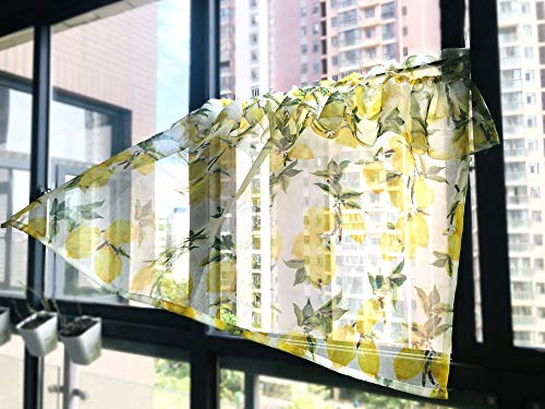 WPKIRA Rod Pocket Sheer Valance Yellow Lemon Printed Voile Sheer Window Treatment for Living Room / Kitchen 1 Pieces Yellow W39 x L31 Inches