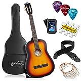 Ashthorpe 38-inch Beginner Acoustic Guitar Package (Sunburst), Kids Basic Starter Kit w/Gig Bag, Strings, Strap, Tuner, Pitch Pipe, Picks