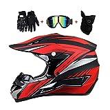 LEENP Motocross-Helm Schwarz Rot Crosshelm Set mit Brillen Maske Handschuhe, Herren Damen...