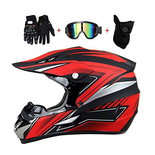 LEENP Casco de Motocross, Negro Rojo Casco de Cross de Moto Set...