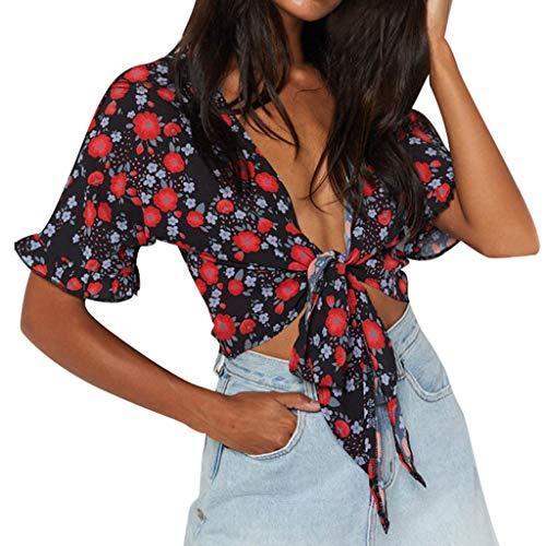 TWIFER Damen Sommer T Shirt Kurzer Flare-Ärmel Bandage Blumendruck Short Crop Casual Top