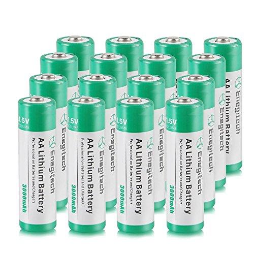Batteriol AA Lithium Batterie a Litio 1.5V 3000mAh Non Ricaricabile, Confezione da 16 Pile