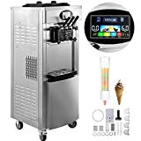 VEVOR 2200W Commercial Soft Ice Cream Machine 3 Flavors 5.3 to 7.4Gallon per Hour PreCooling at Night Auto Clean LCD Panel for Restaurants Snack Bar, Sliver