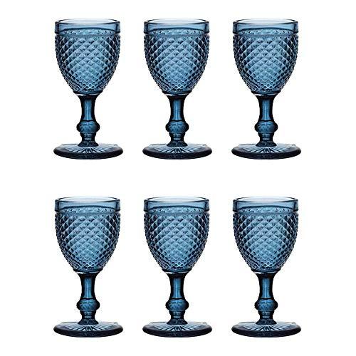 EME Mobiliario Copa de Cristal Tallado Picos en Color Azul Set 6 Unidades