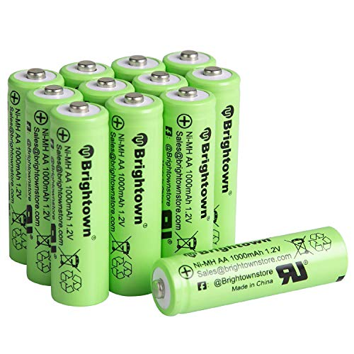NiMH Rechargeable AA Batteries - 1000 mAh - 12 Count - Pre-Charged Double A Battery for Solar Lights Battery String Lights Digital Camera Controllers Toys