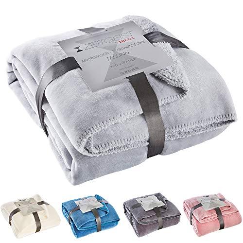 Zeitgeist Decke Tallinn, Tagesdecke hellgrau 150x200 cm, Mikrofaser Kuscheldecke, weiche Decke in vielen verschiedenen Farben erhältlich