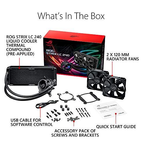 ASUS ROG STRIX LC 240 Cooler CPU All-in-One ROG con Illuminazione Addressable RGB, Aura Sync, Rivestimento Pompa NCVM e Ventola del Radiatore ROG 120 mm, Black