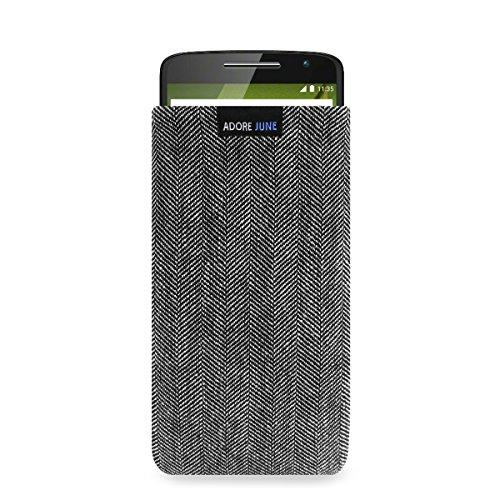 Adore June Business Tasche für Motorola Moto X Play Handytasche aus charakteristischem Fischgrat Stoff - Grau/Schwarz | Schutztasche Zubehör mit Bildschirm Reinigungs-Effekt | Made in Europe