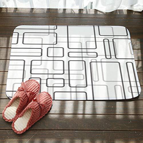 Deurmat tapijt, 3D-bedrukte eenvoudige grijze rechthoekige antislip voordeur mat, deurmat welkom slaapkamer hal tapijt rechthoekige zachte deurmat voor huis woonkamer keuken 50×80cm
