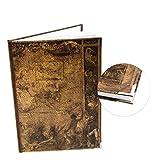 Logbuch-Verlag Cuaderno de notas rústico, vintage, a rayas, A4, mapa del mundo medieval, diseño nostálgico vintage, con esquinas protectoras de metal
