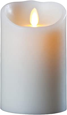 Darice LM355B Luminara Realistic Artificial Flame Pillar Candle with Timer, 5-Inch, Ivory