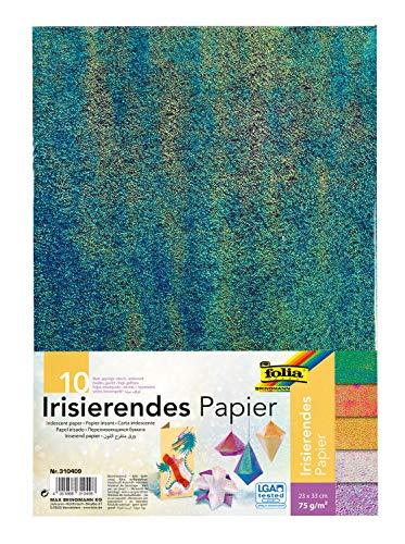 folia 310409 - Irisierendes Papier, ca. 23 x 33 cm, 10 Blatt, 75 g/qm, in 2 Prägungen farbig sortiert - ideal für zahllose Bastelstunden und -ideen
