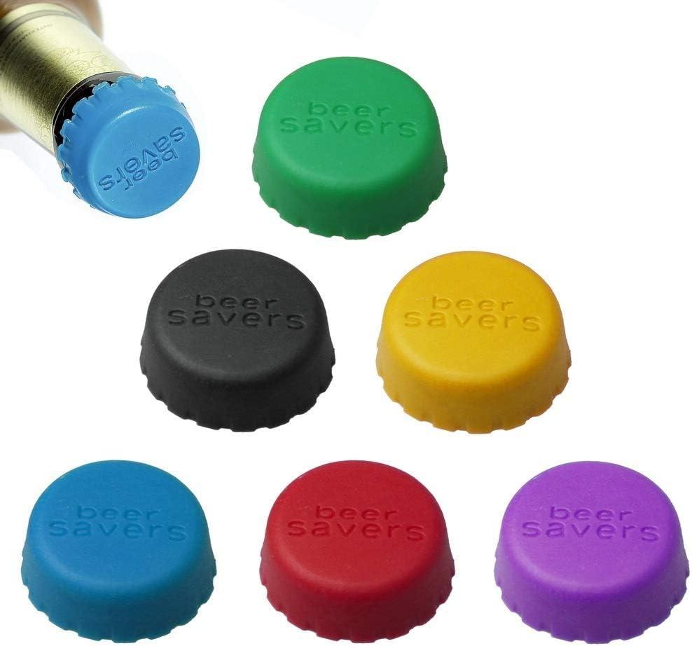 nuoshen 12 piezas de silicona Kronkorken, Bunt Beer Saver cerveza - Cápsulas respetuosas con el medio ambiente Tapón de silicona en 6 colores Bottle Cap para cerveza, botellas de cristal