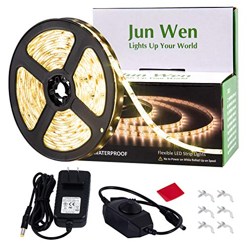 Dimmable LED Strip Light Kit,JUNWEN Warm White Rope Lights,Waterproof 16.4 FT/5M Tape Lights 300 Units SMD 2835 12V LED Ribbon with Power Supply for Home Kitchen Bar Clubs