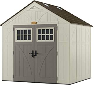 Suncast 8' x 7' Tremont Storage Shed with Windows - Outdoor Storage for Backyard Tools and Accessories - All-Weather Resin Material, Transom Windows and Shingle Style Roof