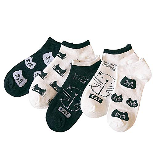 MIWNXM 10 Pares Bonitos Calcetines de algodón de Animales para Mujer, Calcetines Cortos de Verano con Gato Kawaii, Zapatillas,Nuevas Mujeres,CalcetinesCasuales Suaves y Divertidos para Barco