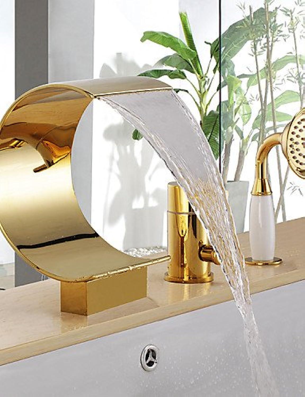 Badewannenarmaturen - Messing - Antik - Wasserfall   Handdusche inklusive - Ti-PVD