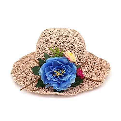 CXHMY Hut Strand Sonnenhut handgemachte Frauen häkeln Blume Frauen Strohhut Sonnenhut Lady Summer (Farbe: Pink, Größe: 56-58CM)