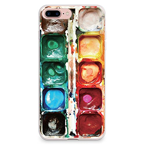 CasesByLorraine Compatible with iPhone 8 Plus 5.5', iPhone 7 Plus 5.5' Case, Watercolor Paint Box Print Design Flexible TPU Soft Gel Protective Cover for iPhone 8 Plus (2017) iPhone 7 Plus (2016)