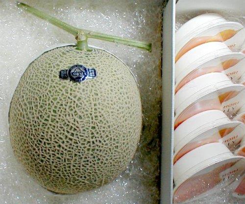 静岡産 高級温室マスクメロン1.5kg 白級 と北海道夕張メロンピュアゼリー10個入りセット化粧箱