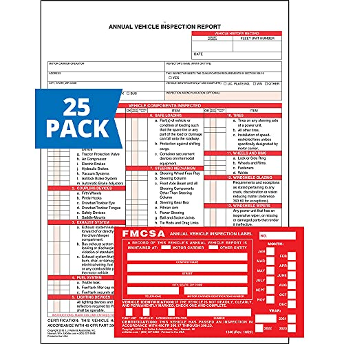 Annual Vehicle Inspection Report Form 25-pk. (Snap-Out Format, 3-Ply Carbonless, 8.5' x 11.75') + Label with Punch Boxes 25-pk. (Aluminum, Permanent Adhesive, 6' x 3.5') - J. J. Keller & Associates