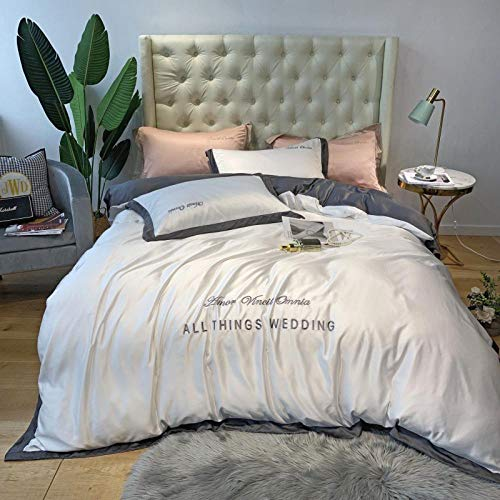 geek cook Homehold Sheets Set,Summer silk bed four-piece ice silk silky Nordic style naked sleeping sheet quilt cover 4 three-piece set-Ivory white_1.8m bed (quilt cover 200 * 230cm) 4pcs set