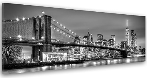 Feeby Frames, Cuadro en lienzo, Cuadro decoración, Canvas de una pieza, 60x150 cm, BLANCO, NUEVA YORK CIUDAD, CIUDAD, AGUA, EDIFICIOS, RASCACIELOS, ARQUITECTURA, VISTA, NEGRO Y EL PUENTE DE BROOKLYN