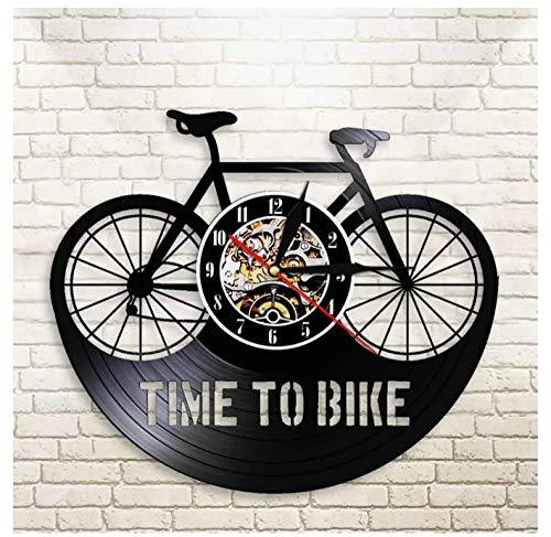 GenericBrands Retro Schallplattenuhr Fahrrad Fahren Vinyl Wanduhr mit upcycling Design Uhr Wand-deko Wand-Dekoration 12-Zoll(Keine Lichter)
