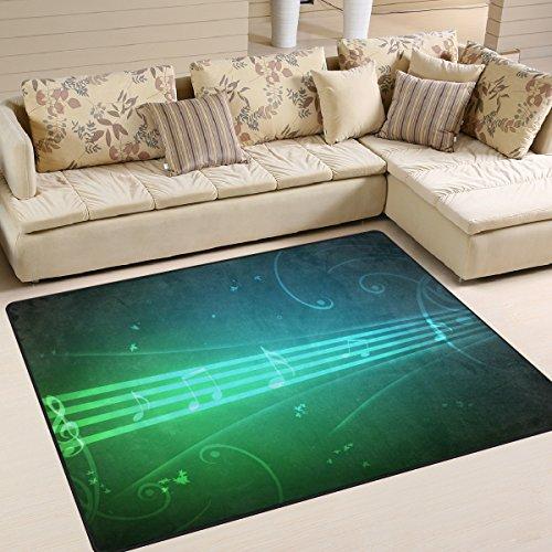 JSTEL INGBAGS Super weicher moderner 3D-Neon-Musik-Teppich Wohnzimmer Schlafzimmer Teppich für Kinder Spielen Solid Home Decor Boden Teppich und Teppiche 160 x 122 cm, Polyester, multi, 63 x 48 Inch