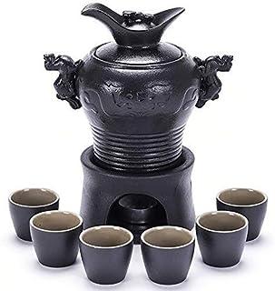 Mnjin Juego de Tazas de Sake Exquisito, Juego de Sake de 8 Piezas, diseño de dragón Chino de cerámica Negra Juego de Copas de Vino con Olla calefactora y Estufa de Velas, Textura pintoresca El mej
