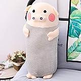 SHANGZHIQIN Gris Soft Sleeping Pig Plush Toy, Animal de Peluche Almohada Larga de Cerdo, para niños Apacigua el Juguete Decoración de la habitación del bebé 70 cm