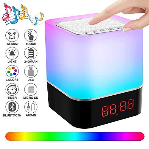 Swonuk Bluetooth Lautsprecher Lampen, Nachttischlampe mit Lautsprecher 5in1 USB Wiederaufladbar Touchlampe mit 12/24H Digital Wecker, Stimmungslicht, Freisprechen, MP3-Player, Lautsprecher, Geschenk