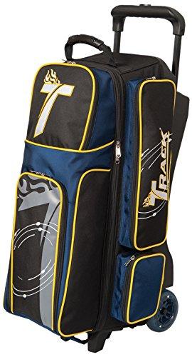 Track Bowling Premium Player Triple Ball Bowling Bag, Black/Navy/Yellow