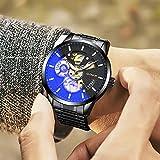 ASBIAOReloj para Hombre Reloj para Hombre Cinturón de Reloj mecánico Hueco automático Cinturón de Moda Tabla de Deportes para Estudiantes Cambio de Color Carcasa Negra Movimiento de Oro Negro Cintu