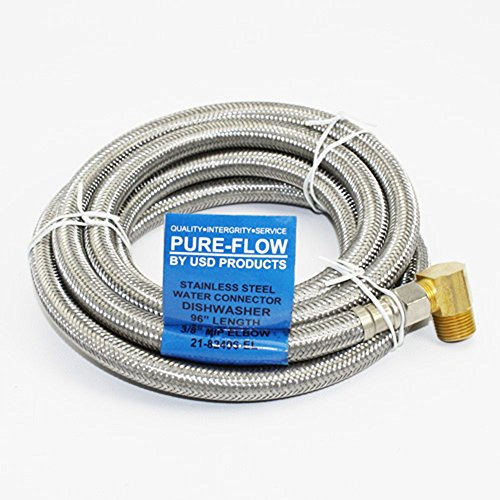 Universal Dishwasher 8' SS lnstallation Water Supply Line 90 Degree Plumbing Elbow