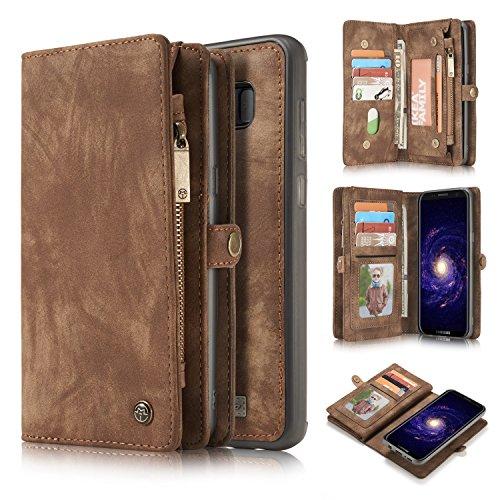 Para el estuche Galaxy S8, una funda de cuero hecha a mano multifuncional de dos en uno con tragamonedas con tarjeta de crédito y cubierta extraíble, bolso premium con cremallera para los casos de Sam