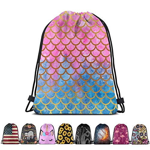 Britimes Drawstring Bag Mermaid Scale Waterproof Outdoor Hiking Beach Gym Backpack Pull String Storage Sackpack Gift for Girls